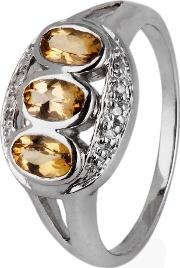 Pre Owned 9ct White Gold Brown Topaz And Diamond Three Stone Ring 4111045