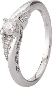 Pre Owned 9ct White Gold Diamond Twist Ring 4111523