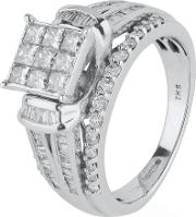 Pre Owned 9ct White Gold Multi Diamond Ring 4112320