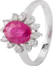 Pre Owned 9ct White Gold Ruby And Diamond Cluster Ring 4328318