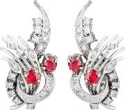 Pre Owned 9ct White Gold Ruby And Diamond Earrings 4317127