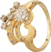 Pre Owned 9ct Yellow Gold 0.35ct Old Cut Diamond Spray Cluster Ring Gmc 7724