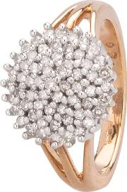 Pre Owned 9ct Yellow Gold 0.50ct Diamond Five Tier Cluster Ring Hgm140212 1018