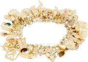 Pre Owned 9ct Yellow Gold Charms And Curb Chain Charm Bracelet 4123835