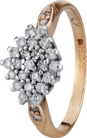 Pre Owned 9ct Yellow Gold Diamond Cluster Ring 4111130