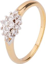 Pre Owned 9ct Yellow Gold Diamond Cluster Ring 4111538