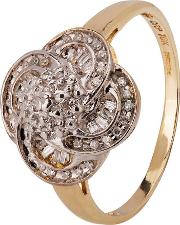 Pre Owned 9ct Yellow Gold Diamond Cluster Ring 4111785