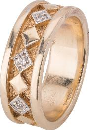 Pre Owned 9ct Yellow Gold Diamond Set Wedding Ring 4187641