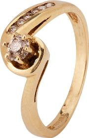 Pre Owned 9ct Yellow Gold Diamond Solitaire Ring 4136325