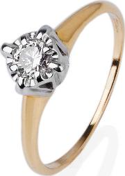 Pre Owned 9ct Yellow Gold Grain Set Diamond Ring 4332256