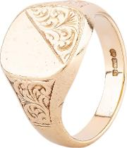 Pre Owned 9ct Yellow Gold Half Engraved Cushion Signet Ring Hgm370324 0819
