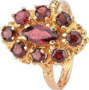 Pre Owned 9ct Yellow Gold Nine Stone Garnet Ring 4309199