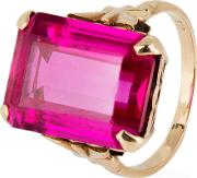Pre Owned 9ct Yellow Gold Red Stone Set Ring 4146909