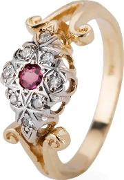 Pre Owned 9ct Yellow Gold Ruby And Diamond Ring 4111525