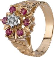 Pre Owned 9ct Yellow Gold Ruby And Diamond Ring 4136367