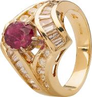 Pre Owned 9ct Yellow Gold Ruby And Diamond Ring 4328332
