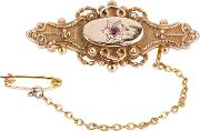Pre Owned 9ct Yellow Gold Ruby Brooch 4113239