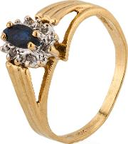 Pre Owned 9ct Yellow Gold Sapphire And Diamond Cluster Ring 4311038
