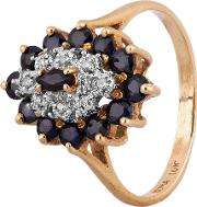 Pre Owned 9ct Yellow Gold Sapphire And Diamond Marquise Cluster Ring 4311070