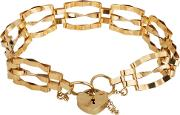 Pre Owned 9ct Yellow Gold Three Bar Gate Bracelet 4153161