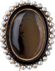 Pre Owned Moss Agate And Seed Pearl Brooch 4113150