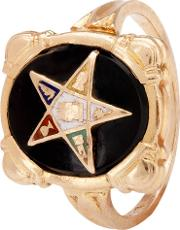 Pre Owned Onyx And Enamel Star Signet Ring 4157466