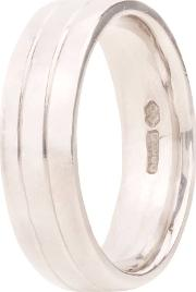 Pre Owned Palladium 6mm Wide Tram Line Wedding Ring 4187750