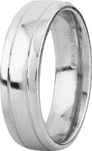 Pre Owned Palladium 6mm Wide Tram Lined Plain Wedding Ring 4187781