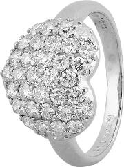 Pre Owned Platinum 1.00ct Pave Diamond Heart Cluster Ring 4312500