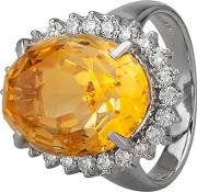 Pre Owned Platinum 11.40ct Citrine And Diamond Cluster Ring Gmc 11039