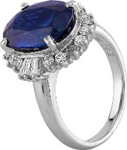 Pre Owned Platinum 5.00ct Sapphire And 0.60ct Diamond Cluster Ring Gmc 11644