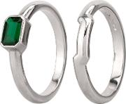 Pre Owned Platinum Emerald Solitaire And Plain Band Bridal Set N515930 444