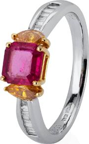 Pre Owned Platinum Ruby And Diamond Ring 4329584