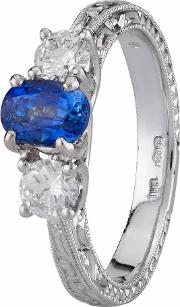 Pre Owned Platinum Sapphire And Diamond Ring 4329234