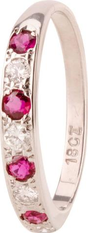Pre Owned Ruby And Diamond Half Eternity Ring 4111794