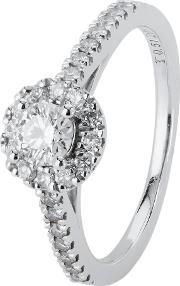 Pre Owned Tolkowsky 18ct White Gold Diamond Halo Ring 4112380