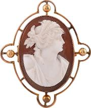 Pre Owned Yellow Gold Oval Cameo Brooch Lot741 1015