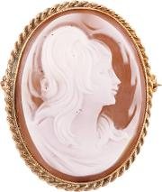 Pre Owned Yellow Gold Twist Oval Cameo Brooch H511025 443