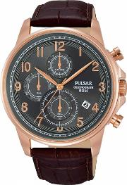 Mens Rose Gold Plated Brown Dress Watch Pm3083x1