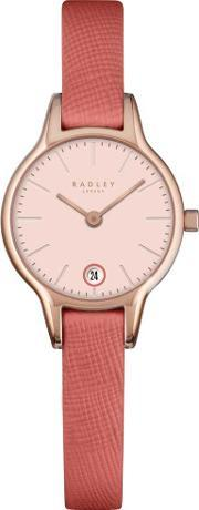 Ladies Rose Gold Plated Pink Leather Strap Watch Ry2382