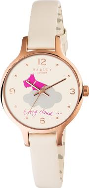 Rose Gold Plated Cream Strap Watch Ry2478