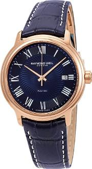 Mens Maestro Blue Leather Strap Watch 2237 Pc5 00508