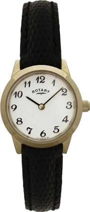 Ladies Gold Plated Black Strap Watch Lsi00760