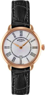Ladies Rose Gold Black Strap Watch Ls0291941