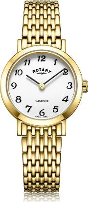Ladies Windsor Gold Plated White Dial Bracelet Watch Lb0530318