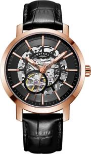 Mens Greenwich Rose Gold Plated Skeleton Watch Gs0535404