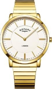 Mens London White Dial Gold Plated Expandable Bracelet Watch Gb0276603