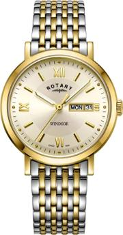 Mens Windsor Two Tone Champagne Watch Gb0530109