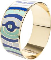 Gold Plated Blue White And Green Enamel Bangle Ba01186 L 888
