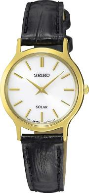 Ladies Gold Plated Solar Strap Watch Sup300p1